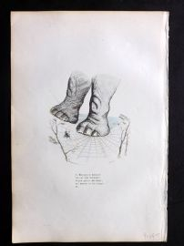Grandville 1842 Hand Col Print. Elephant in Spiders Web
